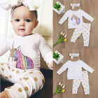 UK New Unicorn Newborn Baby Girl Outfit Clothes Tops Leggings Pants Headband Set