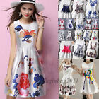 Fashion Women Sleeveless Bodycon Floral Casual Party Evening Cocktail Mini Dress