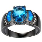 Size 4-12 Black Gold Blue Sapphire Fire Opal Wedding Engagement Ring Anniversary
