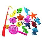 Kids Magnetic Fishing Toys Game 3D Fish+Rod+Net Baby Bath Fishing Toy 14 pcs/Set