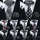 USA Classic Black Mens Tie Silk Paisley Necktie Polka Dot Wedding Tie Jacquard