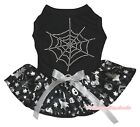 Cobweb Halloween Black Top Silver Pumpkin Skull Tutu Pet Dog Dress Puppy Clothes