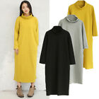 New Ladies Dress Maxi Womens Loose Long Turtle Polo Neck Midi Plain Stretch Soft
