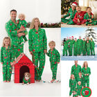 Family Matching Christmas Pajamas Set Women Baby Kids Green Sleepwear Nightwear