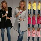 Women Casual Hooded Long Sleeve Solid Pockets Drawstring Coat S0BZ
