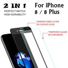 Full Cover Carbon Fiber Soft Edge 3D Tempered Glass Protector For iPhone8/8Plus