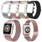 38/42mm Rose Red Milanese Metal Magnetic Watch Band Strap & Case For Apple Watch