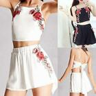 Women Sexy Spaghetti Strap Sleeveless Embroidery Flower Cami with EN24H 01