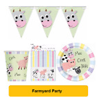FARMYARD Pastel FARM ANIMALS Birthday Party Range Tableware Balloons Decorations