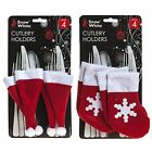 Christmas Tableware - 4 Pack Red Felt Cutlery Holders - Stocking or Hat