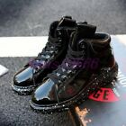 Men's Round Toe Lace Up Patent Leather Fashion Ankle Boots High Tops Casual Shoe