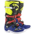 Alpinestars Tech 5 Motocross / MX Boots In Blue / Black / Yellow Fluo / Red