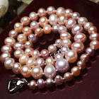 """2017 NEW beautiful AAA 17"""" 5-10mm REAL round natural freshwater pearl necklace"""
