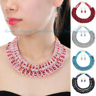 Fashion Jewelry Crystal Chain Silk Rope Choker Statement Necklace Earrings Set