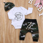 Cute Mama's Boy Newborn Infant Baby Romper Top Pants Hat 3Pcs Outfit Set Clothes