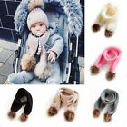 Внешний вид - Toddler Kids Baby Girls Boys Winter Warm Crochet Knitted Fur Pom Scarf Scarves