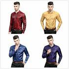 New Mens Autumn National Pattern Flower Printed Long-Sleeved Shiny Designe Shirt