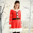 NEW WOMENS LADIES CHRISTMAS KNITTED DRESS MRS CLAUSE FANCY DRESS XMAS FESTIVE
