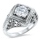 ART DECO 925 STERLING SILVER ENGAGMENT WEDDING ANTIQUE STYLE CZ RING,      #1053