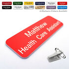 COMBI CLIP & PIN Custom Engraved Name Badge ID Tags Domestic Care Assistant Work