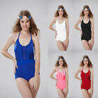 Women Sexy Solid Hollow Swimwear Halter Backless Jumpsuits Double Layer Suit