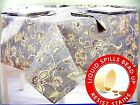 """Assorted Sizes """"Wylma"""" Gray Gold Paisley Microfiber Fabric Tablecloth FREE SHIP"""