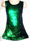 GIRLS 60s STYLE GREEN BLUE SPARKLING SEQUIN EVENING DISCO DANCE PARTY DRESS TOP