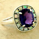 25 CT ART DECO 925 STERLING SILVER LAB AMETHYST OPAL ANTIQUE STYLE RING 1086