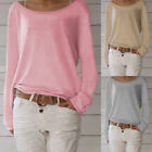 Women's Long Sleeve Round Neck Plain Basic Ladies Stretch T-Shirt Tops Blouse