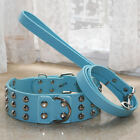 Pet Collars Blue Leather Spiked Studded Dog Collars Leash Set Pitbull Terrier
