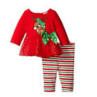 1Set Christmas Kids Girls Long Sleeve Red Deer Tops Embroidered Striped Pants