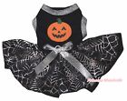 Halloween Pumpkin Black Cotton Top Black Silver Cobweb Tutu Pet Dog Puppy Dress