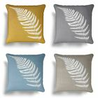 "Kincraig Fern Cushion Cover Modern Leaf Printed Cotton Cushion Covers 17"" x 17"""