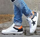 MELINE`SNEAKERS IN 1763 GALAXY BIANCO-GALAXY NERO ECHTLEDER MADE IN ITALY