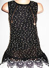 GIRLS 60s BLACK GLITTERY GOLD ZIP LACE TRIM SPECIAL OCCASION PARTY TUNIC DRESS