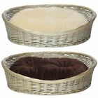 Bunty Oval Wicker Wood Dog Pet Puppy Cat Bed Basket with Fleece Round Cushion
