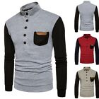 Mens Stylish Warm Knitted Sweater Long sleeve Slim Coat Stand Collar Shirts GB09