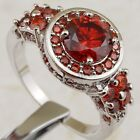Size 6 7 8 9 Beautiful Hot Garnet Red Jewelry Gold Filled Woman Gift Ring K2346