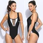 Women Sexy Hollow Out Mesh Patchwork Strappy Monokini One Piece EN24H