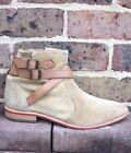 H by Hudson Beige Buckle Suede Flat Leather Zip Biker Ankle Shoes Boots 6 39 New