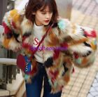 Korea Womens Warm Multi Color Fox Fur Coat Winter Short Outwear Jacket Retro Sz
