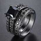 Micro Paved Round CZ Solitaire Lady Womens Ring Set Black Gold Filled Wedding