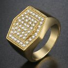 Micro Paved Clear CZ Mens Band Ring Yellow White Gold Filled GF Hexagon Wedding