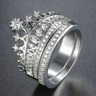 Micro Paved Clear CZ Lady Womens Ring Set White Gold Filled GF Crown Wedding