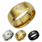 8mm Superman Ring Band Men Jewerlly Child Party Comics Triangle Stainless Steel