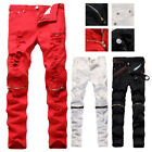Mens Red White Slim Biker Pants Knee Zipper Distressed Ripped Denim Jeans US