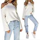 NEW Womens Ladies Causal Strappy Halterneck Cold Shoulder Long Sleeve Tee Tops