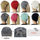 Women……Girls Messy High Bun Ponytail Stretchy Knit Beanie Skull Winter Warm Hat
