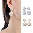 Fashion Women Silver Gold Plated Charm Double Pearl Charm Ear Stud Earrings New