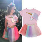 Kids Baby Girls Unicorn Top T-shirt Lace Tutu Skirt Outfits Clothes Summer Pink